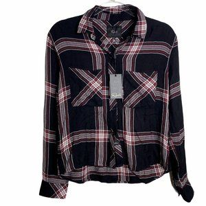 Rails Dylan Plaid Jet White Ruby Shirt Button Down